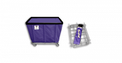"R&B Wire - R&B Wire #406KD 6 Bushel ""UPS/FEDEX-ABLE"" Truck - Punky Purple Liner, 3"" Casters, Corner (All Swivel) - Image 1"
