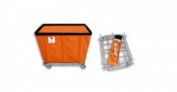"R&B Wire - R&B Wire #406KD 6 Bushel ""UPS/FEDEX-ABLE"" Truck - Sunset Orange Liner, 3"" Casters, Corner (All Swivel) - Image 1"