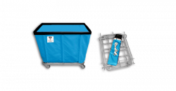 "R&B Wire - R&B Wire #406KD 6 Bushel ""UPS/FEDEX-ABLE"" Truck - Electric Blue Liner, 3"" Casters, Corner (2 Swivel & 2 Rigid) - Image 1"