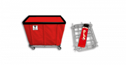 "R&B Wire - R&B Wire #408KD 8 Bushel ""UPS/FEDEX-ABLE"" Truck - Red Liner, 4"" Casters, Corner (2 Swivel & 2 Rigid) - Image 1"