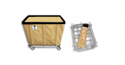 "R&B Wire - R&B Wire #408KD 8 Bushel ""UPS/FEDEX-ABLE"" Truck - Beige Liner, 4"" Casters, Corner (All Swivel) - Image 1"