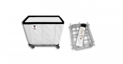 "R&B Wire - R&B Wire #408KD 8 Bushel ""UPS/FEDEX-ABLE"" Truck - White Liner, 4"" Casters, Corner (2 Swivel & 2 Rigid) - Image 1"