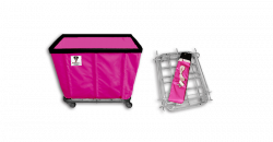 "R&B Wire - R&B Wire #408KD 8 Bushel ""UPS/FEDEX-ABLE"" Truck - Hot Pink Liner, 4"" Casters, Corner (All Swivel) - Image 1"
