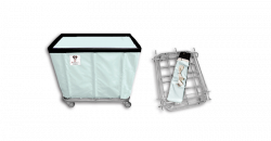 """R&B Wire - R&B Wire #408KD 8 Bushel """"UPS/FEDEX-ABLE"""" Truck - Icy White Liner, 3"""" Casters, Corner (All Swivel) - Image 1"""