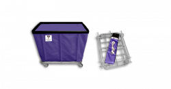 "R&B Wire - R&B Wire #408KD 8 Bushel ""UPS/FEDEX-ABLE"" Truck - Punky Purple Liner, 3"" Casters, Corner (All Swivel) - Image 1"