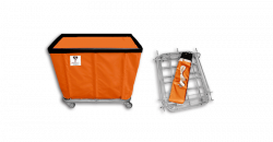 "R&B Wire - R&B Wire #408KD 8 Bushel ""UPS/FEDEX-ABLE"" Truck - Sunset Orange Liner, 4"" Casters, Diamond (2 Swivel & 2 Rigid) - Image 1"