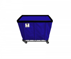 "R&B Wire - R&B Wire #406SO/ANTI 6 Bushel Permanent Liner Basket Truck (Anti-Microbial) - Navy Liner, 3"" Casters, Corner (All Swivel) - Image 1"