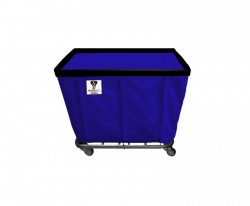 "R&B Wire - R&B Wire #408SO/ANTI 8 Bushel Permanent Liner Basket Truck (Anti-Microbial) - Navy Liner, 4"" Casters, Corner (All Swivel) - Image 1"