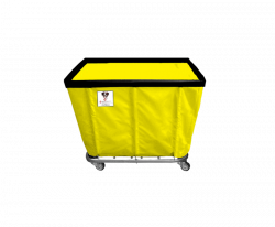 "R&B Wire - R&B Wire #406SO 6 Bushel Permanent Liner Basket Truck - Yellow Liner, 3"" Casters, Corner (All Swivel) - Image 1"