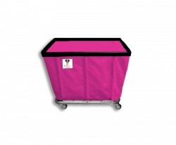 "R&B Wire - R&B Wire #406SO 6 Bushel Permanent Liner Basket Truck - Hot Pink Liner, 3"" Casters, Corner (All Swivel) - Image 1"