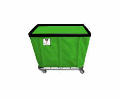 "R&B Wire - R&B Wire #406SO 6 Bushel Permanent Liner Basket Truck - Jelly Bean Green Liner, 3"" Casters, Corner (All Swivel) - Image 1"