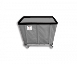 "R&B Wire - R&B Wire #406SO 6 Bushel Permanent Liner Basket Truck - Gray Liner, 4"" Casters, Corner (All Swivel) - Image 1"