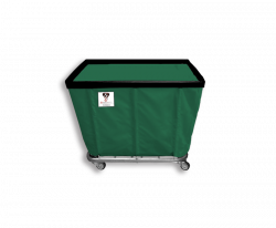 "R&B Wire - R&B Wire #406SO 6 Bushel Permanent Liner Basket Truck - Green Liner, 4"" Casters, Corner (All Swivel) - Image 1"