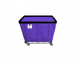 "R&B Wire - R&B Wire #406SO 6 Bushel Permanent Liner Basket Truck - Punky Purple Liner, 4"" Casters, Corner (All Swivel) - Image 1"
