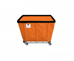"R&B Wire - R&B Wire #406SO 6 Bushel Permanent Liner Basket Truck - Sunset Orange Liner, 4"" Casters, Corner (All Swivel) - Image 2"