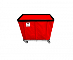 "R&B Wire - R&B Wire #406SO 6 Bushel Permanent Liner Basket Truck - Red Liner, 4"" Casters, Corner (2 Swivel & 2 Rigid) - Image 1"