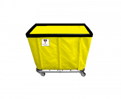 "R&B Wire - R&B Wire #408SO 8 Bushel Permanent Liner Basket Truck - Yellow Liner, 3"" Casters, Corner (All Swivel) - Image 1"