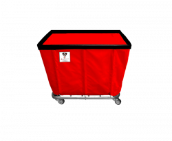 "R&B Wire - R&B Wire #408SO 8 Bushel Permanent Liner Basket Truck - Red Liner, 3"" Casters, Corner (All Swivel) - Image 1"