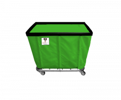 "R&B Wire - R&B Wire #408SO 8 Bushel Permanent Liner Basket Truck - Jelly Bean Green Liner, 3"" Casters, Corner (All Swivel) - Image 1"