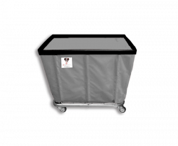 "R&B Wire - R&B Wire #408SO 8 Bushel Permanent Liner Basket Truck - Gray Liner, 4"" Casters, Corner (All Swivel) - Image 1"