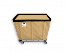 "R&B Wire - R&B Wire #408SO 8 Bushel Permanent Liner Basket Truck - Beige Liner, 4"" Casters, Corner (All Swivel) - Image 1"