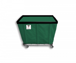 "R&B Wire - R&B Wire #408SO 8 Bushel Permanent Liner Basket Truck - Green Liner, 4"" Casters, Corner (All Swivel) - Image 1"