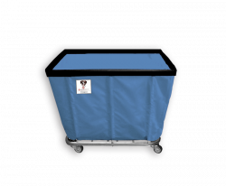 "R&B Wire - R&B Wire #408SO 8 Bushel Permanent Liner Basket Truck - Blue Liner, 4"" Casters, Corner (All Swivel) - Image 1"