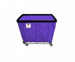 "R&B Wire - R&B Wire #408SO 8 Bushel Permanent Liner Basket Truck - Punky Purple Liner, 4"" Casters, Corner (All Swivel) - Image 1"