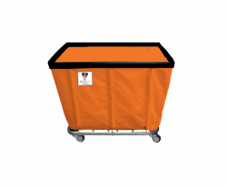 "R&B Wire - R&B Wire #408SO 8 Bushel Permanent Liner Basket Truck - Sunset Orange Liner, 4"" Casters, Corner (All Swivel) - Image 1"