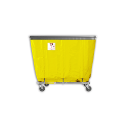 "R&B Wire - R&B Wire #406SOB 6 Bushel Permanent Liner Basket Truck with Bumper - Yellow Liner, 3"" Casters, Corner (All Swivel) - Image 1"