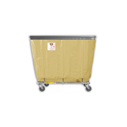"R&B Wire - R&B Wire #406SOB 6 Bushel Permanent Liner Basket Truck with Bumper - Beige Liner, 3"" Casters, Corner (All Swivel) - Image 1"