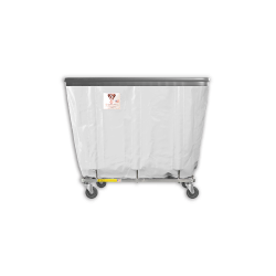 "R&B Wire - R&B Wire #406SOB 6 Bushel Permanent Liner Basket Truck with Bumper - White Liner, 3"" Casters, Corner (All Swivel) - Image 1"