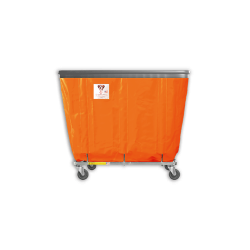 "R&B Wire - R&B Wire #406SOB 6 Bushel Permanent Liner Basket Truck with Bumper - Sunset Orange Liner, 3"" Casters, Corner (All Swivel) - Image 1"