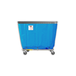 """R&B Wire - R&B Wire #406SOB 6 Bushel Permanent Liner Basket Truck with Bumper - Electric Blue Liner, 3"""" Casters, Corner (All Swivel) - Image 1"""