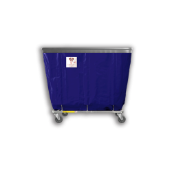 "R&B Wire - R&B Wire #406SOB 6 Bushel Permanent Liner Basket Truck with Bumper - Navy Liner, 4"" Casters, Corner (All Swivel) - Image 1"