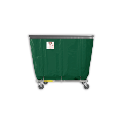 "R&B Wire - R&B Wire #406SOB 6 Bushel Permanent Liner Basket Truck with Bumper - Green Liner, 4"" Casters, Corner (All Swivel) - Image 1"