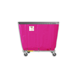 "R&B Wire - R&B Wire #406SOB 6 Bushel Permanent Liner Basket Truck with Bumper - Hot Pink Liner, 4"" Casters, Corner (All Swivel) - Image 1"