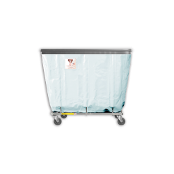 "R&B Wire - R&B Wire #406SOB 6 Bushel Permanent Liner Basket Truck with Bumper - Icy White Liner, 4"" Casters, Corner (All Swivel) - Image 1"