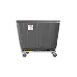 "R&B Wire - R&B Wire #408SOB 8 Bushel Permanent Liner Basket Truck with Bumper - Gray Liner, 3"" Casters, Corner (All Swivel) - Image 1"