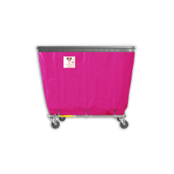 "R&B Wire - R&B Wire #408SOB 8 Bushel Permanent Liner Basket Truck with Bumper - Hot Pink Liner, 3"" Casters, Corner (All Swivel) - Image 1"