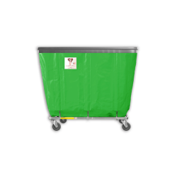 "R&B Wire - R&B Wire #408SOB 8 Bushel Permanent Liner Basket Truck with Bumper - Jelly Bean Green Liner, 3"" Casters, Corner (All Swivel) - Image 1"