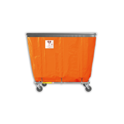 "R&B Wire - R&B Wire #408SOB 8 Bushel Permanent Liner Basket Truck with Bumper - Sunset Orange Liner, 3"" Casters, Corner (All Swivel) - Image 1"