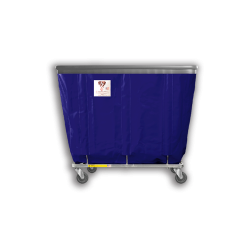 """R&B Wire - R&B Wire #408SOB 8 Bushel Permanent Liner Basket Truck with Bumper - Navy Liner, 4"""" Casters, Corner (All Swivel) - Image 1"""