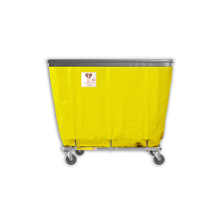 "R&B Wire - R&B Wire #408SOB 8 Bushel Permanent Liner Basket Truck with Bumper - Yellow Liner, 4"" Casters, Corner (All Swivel) - Image 1"