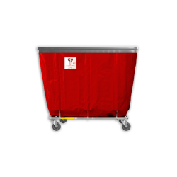 "R&B Wire - R&B Wire #408SOB 8 Bushel Permanent Liner Basket Truck with Bumper - Red Liner, 4"" Casters, Corner (All Swivel) - Image 1"