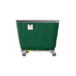 "R&B Wire - R&B Wire #408SOB 8 Bushel Permanent Liner Basket Truck with Bumper - Green Liner, 4"" Casters, Corner (All Swivel) - Image 1"