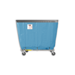 "R&B Wire - R&B Wire #408SOB 8 Bushel Permanent Liner Basket Truck with Bumper - Blue Liner, 4"" Casters, Corner (All Swivel) - Image 1"