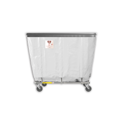 "R&B Wire - R&B Wire #408SOB 8 Bushel Permanent Liner Basket Truck with Bumper - White Liner, 4"" Casters, Corner (All Swivel) - Image 1"