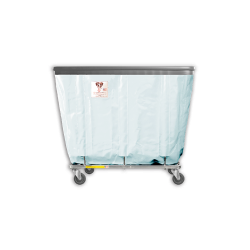 """R&B Wire - R&B Wire #408SOB 8 Bushel Permanent Liner Basket Truck with Bumper - Icy White Liner, 4"""" Casters, Corner (All Swivel) - Image 1"""