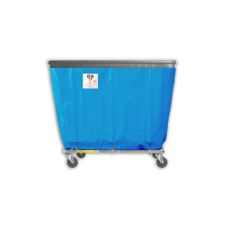 "R&B Wire - R&B Wire #408SOB 8 Bushel Permanent Liner Basket Truck with Bumper - Electric Blue Liner, 4"" Casters, Corner (All Swivel) - Image 1"